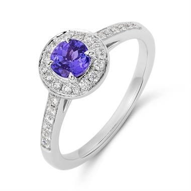 18ct White Gold Tanzanite and Diamond Halo Dress Ring thumbnail