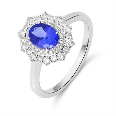 18ct White Gold Tanzanite and Diamond Double Halo Dress Ring thumbnail