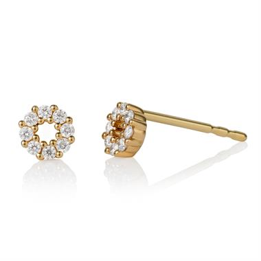 18ct Yellow Gold Circle Design Diamond Stud Earrings thumbnail