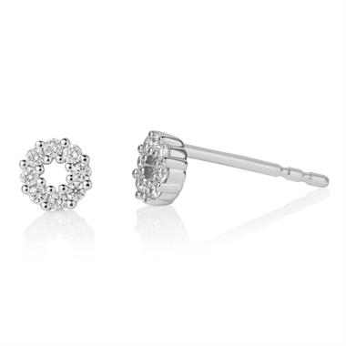 18ct White Gold Circle Design Diamond Stud Earrings 0.16ct thumbnail