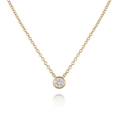 18ct Yellow Gold Diamond Solitaire Necklace 0.10ct thumbnail