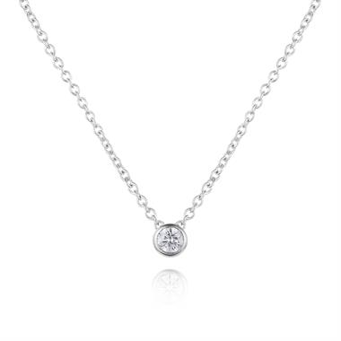 18ct White Gold Diamond Solitaire Necklace 0.10ct thumbnail