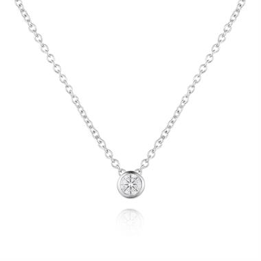 18ct White Gold Diamond Solitaire Necklace 0.15ct thumbnail