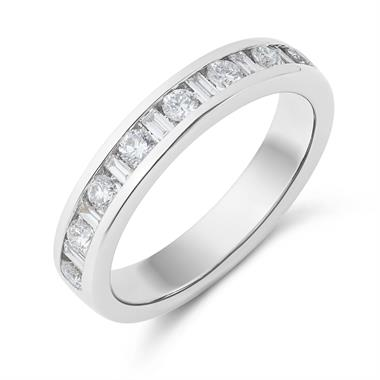 Platinum Baquette Cut 0.50ct Diamond Ring thumbnail