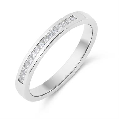 Platinum Princess Cut 0.20ct Diamond Half Channel Ring thumbnail