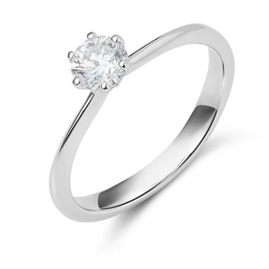 Platinum Six Claw 0.40ct Diamond Solitaire Ring thumbnail