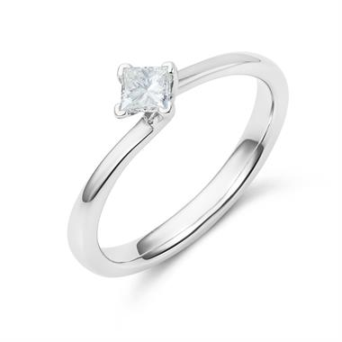 Platinum Twist Design Princess Cut Diamond Solitaire Engagement Ring 0.25ct thumbnail