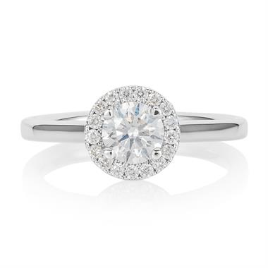 Platinum Diamond Halo Engagement Ring 0.70ct thumbnail