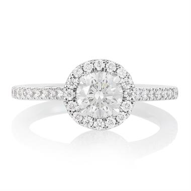 Platinum Diamond Halo Engagement Ring 1.05ct thumbnail