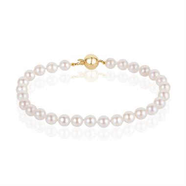 18ct Yellow Gold Cultured Pearl Bracelet thumbnail