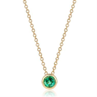 18ct Yellow Gold Emerald Solitaire Necklace thumbnail