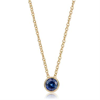 18ct Yellow Gold Sapphire Solitaire Necklace thumbnail