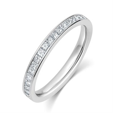 Platinum Princess Cut 0.50ct Diamond Half Channel Ring thumbnail