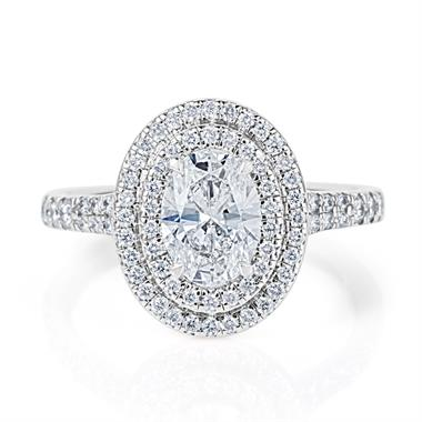 Platinum Oval Diamond Double Halo Engagement Ring 1.50ct thumbnail