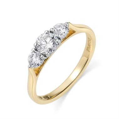 18ct Yellow Gold Graduated 0.75ct Diamond Ring thumbnail