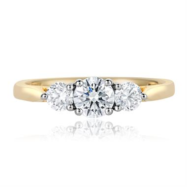 18ct Yellow Gold Diamond Three Stone Engagement Ring 0.75ct thumbnail