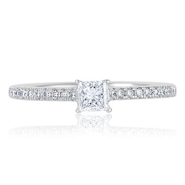 Platinum Princess Cut Diamond Solitaire Engagement Ring 0.58ct thumbnail