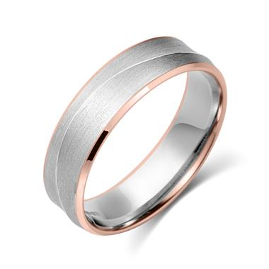 Palladium and 18ct Rose Gold Curved Ridge Detail Wedding Ring thumbnail