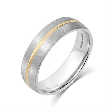 Palladium and 18ct Yellow Gold Groove Detail Wedding Ring thumbnail