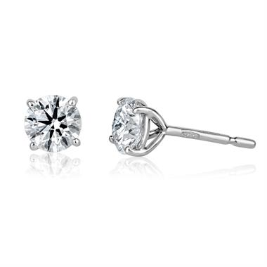 18ct White Gold Diamond Solitaire Stud Earrings 1.40ct thumbnail