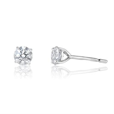 18ct White Gold Diamond Solitaire Stud Earrings 0.90ct thumbnail