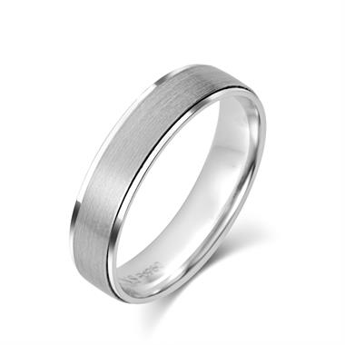 Palladium Ridge Detail Brushed Finish Wedding Ring thumbnail