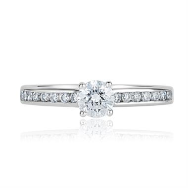 Platinum Brilliant Cut 0.55ct Diamond Channel Solitaire Ring thumbnail