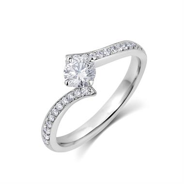Platinum Contemporary Diamond Twist Grain Set Solitaire Ring thumbnail