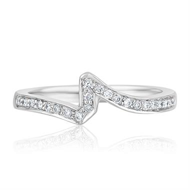 Platinum Diamond Set Shaped Wedding Ring 0.22ct thumbnail