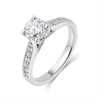 Platinum Round Brilliant Cut Diamond Halo Engagement Ring 1.35ct thumbnail