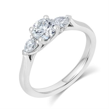 Platinum Round and Pear Shape Diamond Three Stone Engagement Ring 0.96ct thumbnail
