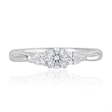 Platinum Round and Pear Shape Diamond Three Stone Engagement Ring 0.62ct thumbnail