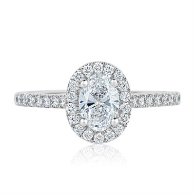 Platinum Oval Diamond Halo Engagement Ring 1.05ct thumbnail