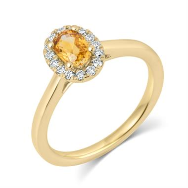 18ct Yellow Gold Yellow Sapphire Halo Ring thumbnail