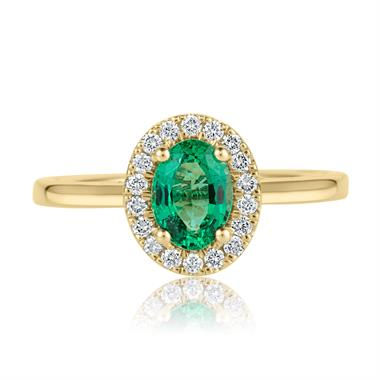 18ct Yellow Gold Oval Emerald and Diamond Halo Engagement Ring thumbnail
