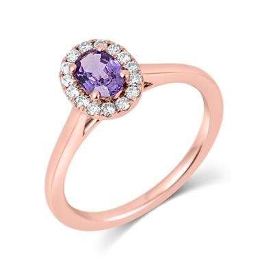 18ct Rose Gold Oval Violet Sapphire and Diamond Halo Engagement Ring thumbnail