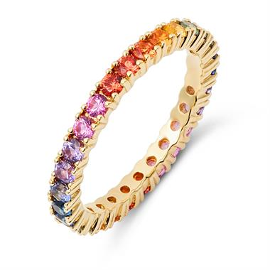 Samba 18ct Yellow Gold Rainbow Sapphire Full Eternity Ring thumbnail