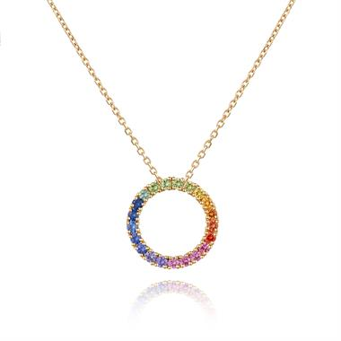 Samba 18ct Yellow Gold Multi Sapphire Small Circle Pendant thumbnail