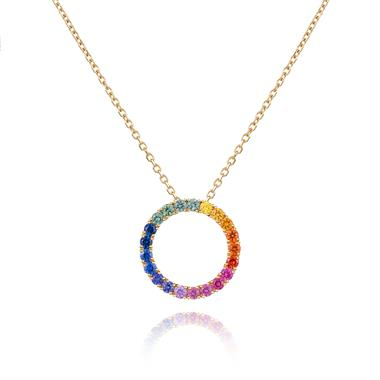 Samba 18ct Yellow Gold Multi Sapphire Large Circle Pendant thumbnail