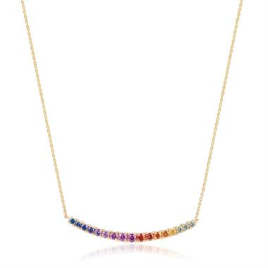 Samba 18ct Yellow Gold Multi Sapphire Curved Bar Necklace thumbnail