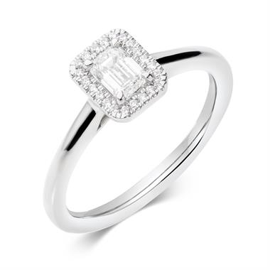 Platinum Emerald Cut Diamond Halo Engagement Ring 0.40ct thumbnail
