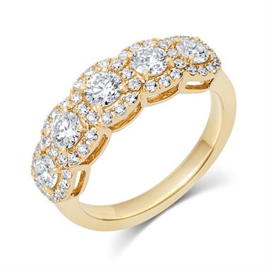 18ct Yellow Gold Five Stone Halo Detail Diamond Dress Ring 1.20ct thumbnail