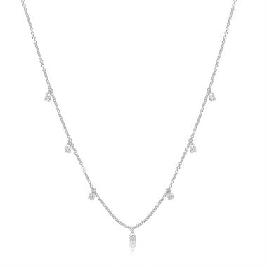 18ct White Gold Diamond Station Necklace 0.30ct thumbnail