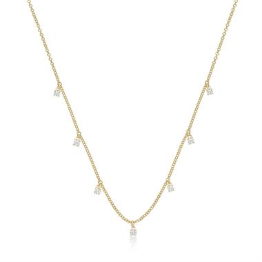 18ct Yellow Gold Diamond Station Necklace thumbnail