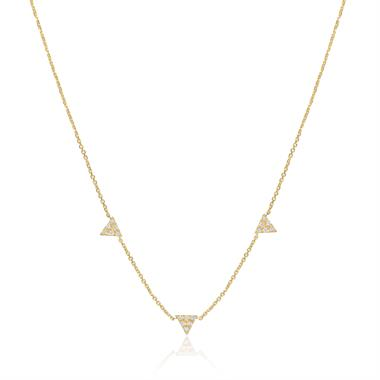 18ct Yellow Gold Diamond Triangle Necklace thumbnail