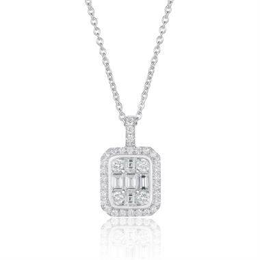 Odyssey 18ct White Gold Diamond Illusion Pendant thumbnail