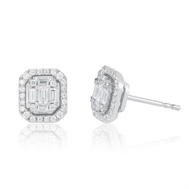 Odyssey 18ct White Gold Emerald Cut Diamond Illusion Earrings thumbnail