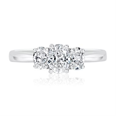 Platinum Oval Diamond Three Stone Engagement Ring 0.90ct thumbnail