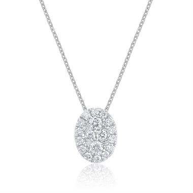 Adore 18ct White Gold Diamond Oval Pendant thumbnail