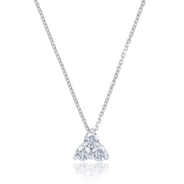 18ct White Gold Diamond Trefoil Design Necklace - Small 0.26ct thumbnail